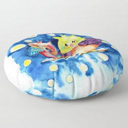 Two owls and a starry night Floor Pillow
