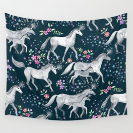 Unicorns and Stars on Dark Teal Wall Tapestry