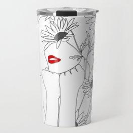 Minimal Line Art Girl with Sunflowers Travel Mug