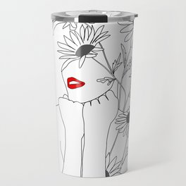 Minimal Line Art Girl with Sunflowers Travel Mug
