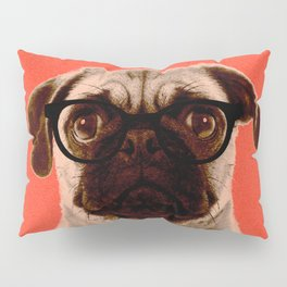 Geek Pug in Red Background Pillow Sham