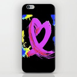 Pink Heart Ribbon (with Tie-Dye Blue-Yellow) for Breast Cancer Research by Jeffrey G. Rosenberg iPhone Skin