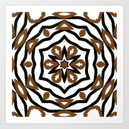 Black and Brown Star and Flower Pattern Design Art Print
