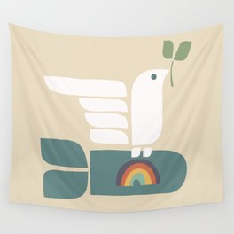 Peace dove and rainbow bomb Wall Tapestry