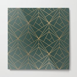Olive Gold Geometric Pattern With White Shimmer Metal Print