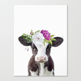 Baby Cow with Flower Crown Canvas Print