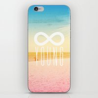 forever young iPhone & iPod Skins featuring Forever Young by M Studio