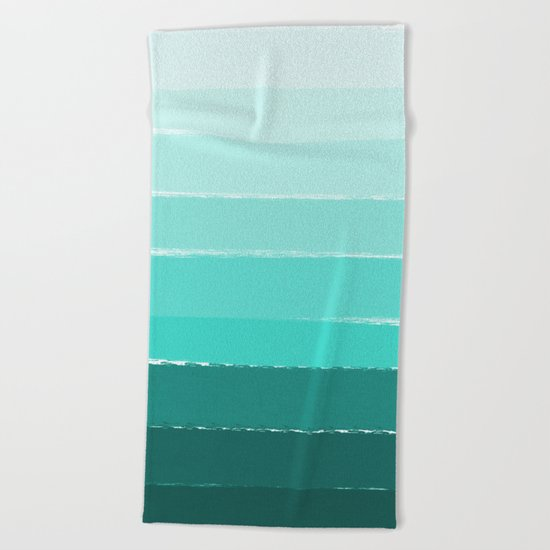 Ombre brushstrokes modern minimal ocean abstract painting wall art Beach Towel