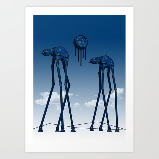 Dali's Mechanical Elephants - Blue Sky Art Print