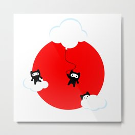 Ninja cats in the sky (Japanese edition) Metal Print