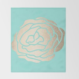 Rose in White Gold Sands on Tropical Sea Blue Throw Blanket