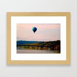 Hot Air Balloon From Bridge Framed Art Print