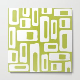 Retro Mid Century Modern Abstract Pattern 335 Chartreuse Metal Print