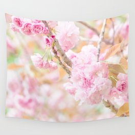 double cherry blossoms in japanese garden Wall Tapestry
