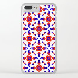 Red & Blue Geometric Pattern Clear iPhone Case