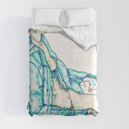 Egon Schiele - Sitting Semi-Nude with Blue Hairband - Digital Remastered Edition Comforters