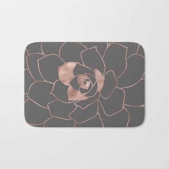 Rosegold  blossom on grey - Pink metal-effect flower Bath Mat