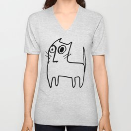 A mangy, miffed and slightly damaged cat Unisex V-Neck