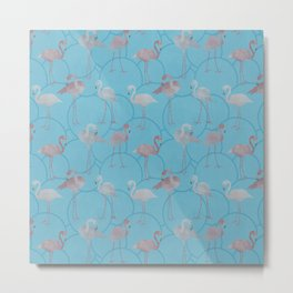 Walk with pink flamingos on bright blue Metal Print