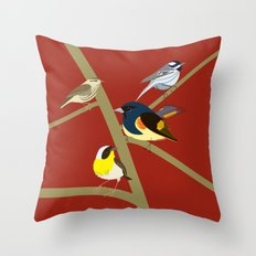 Warblers Sitting on Branches Throw Pillow
