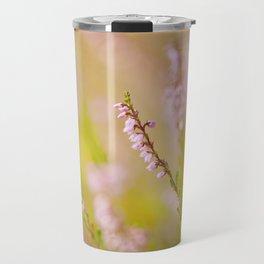 Soft focus of pink heather macro Travel Mug