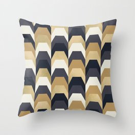 Stacks of Gold and Navy Throw Pillow