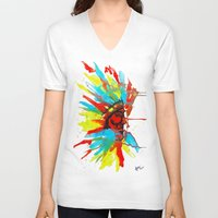 native american V-neck T-shirts featuring Native American by ART HOLES