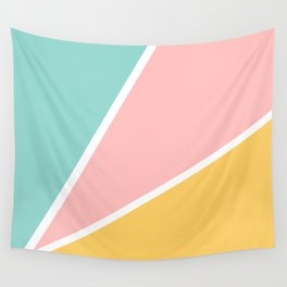 Tropical summer pastel pink turquoise yellow color block geometric pattern Wall Tapestry