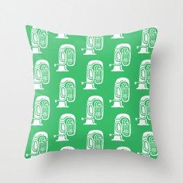 Tuba Pattern Green Throw Pillow