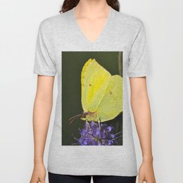 Yellow Butterfly On Purple Flower #decor #society6 #buyart Unisex V-Neck
