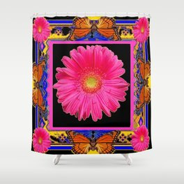 Fuchsia Pink & Orange Monarch Butterflies  Sunflower Patterns Art Shower Curtain
