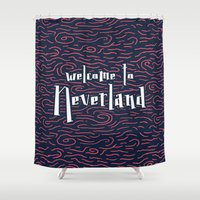 neverland Shower Curtains featuring Welcome to Neverland by Thomas Ramey