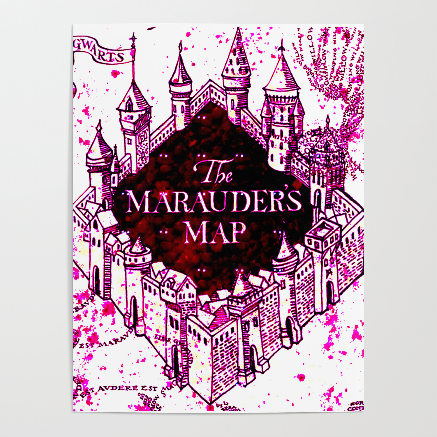 Pink of marauders map Poster by janis-art