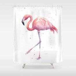 Flamingo Watercolor Pink Bird Shower Curtain