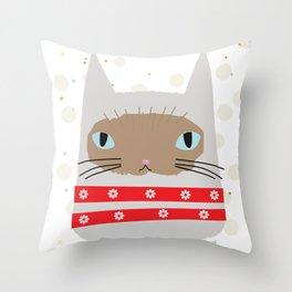 Snow White Kitty Throw Pillow
