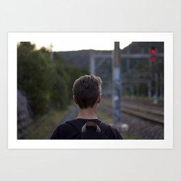 Walking the tracks Art Print