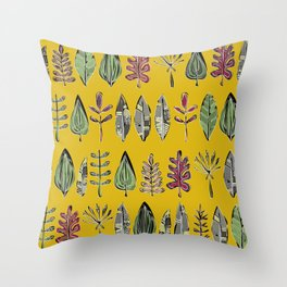 leaves and feathers saffron Throw Pillow