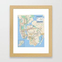 New York City Metro Subway Map Framed Art Print