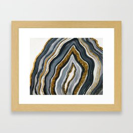 Grey and gold geode Framed Art Print