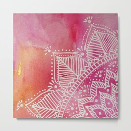 Mandala flower on watercolor background - pink Metal Print