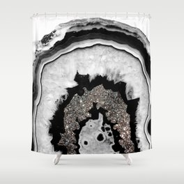 Gray Black White Agate with Silver Glitter #1 #gem #decor #art #society6 Shower Curtain