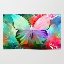 Colorful Butterfly By Annie Zeno  Rug