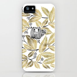 Happy Sloth – Tropical Gold Leaves iPhone Case