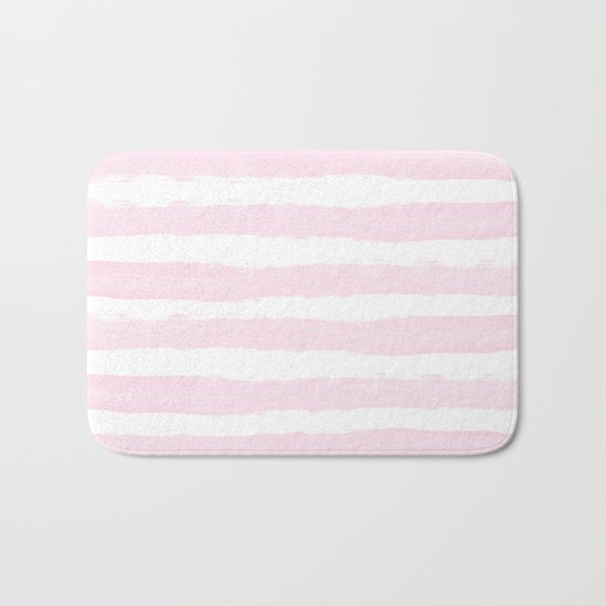 Pink handpainted stripes on clear white Bath Mat