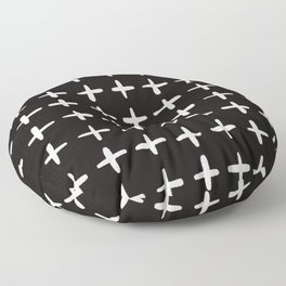 Plus sign black and white Floor Pillow