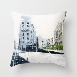 Madrid, Gran Vía. Throw Pillow