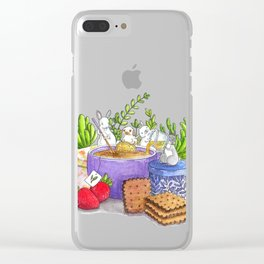 Tea Time With Bunnies Clear iPhone Case
