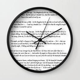 Annabel Lee Edgar Allan Poe Classic Poem Wall Clock