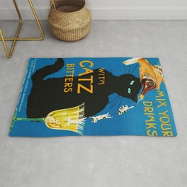 Mix Your Drinks with Catz Bitters Aperitif Liquor Vintage Advertising Poster Rug