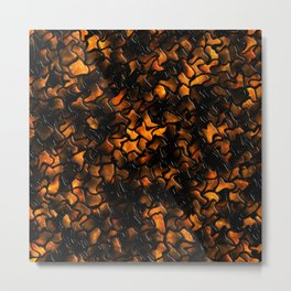 Ancient Amber Wobbly Mosaic Tiles Metal Print
